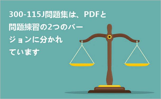 300-115J問題集は、PDFと問題練習の2つのバージョンに分かれています