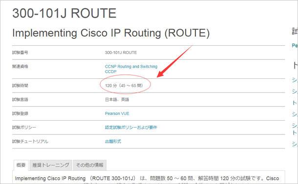 Cisco 300-101J 試験時間